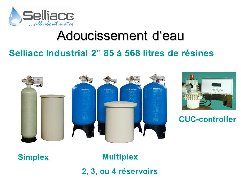 Selliacc Industrial 2 85 à 568 litres de résines CUC-controller Multiplex 2, 3, ou 4 réservoirs Simplex Adoucissement deau