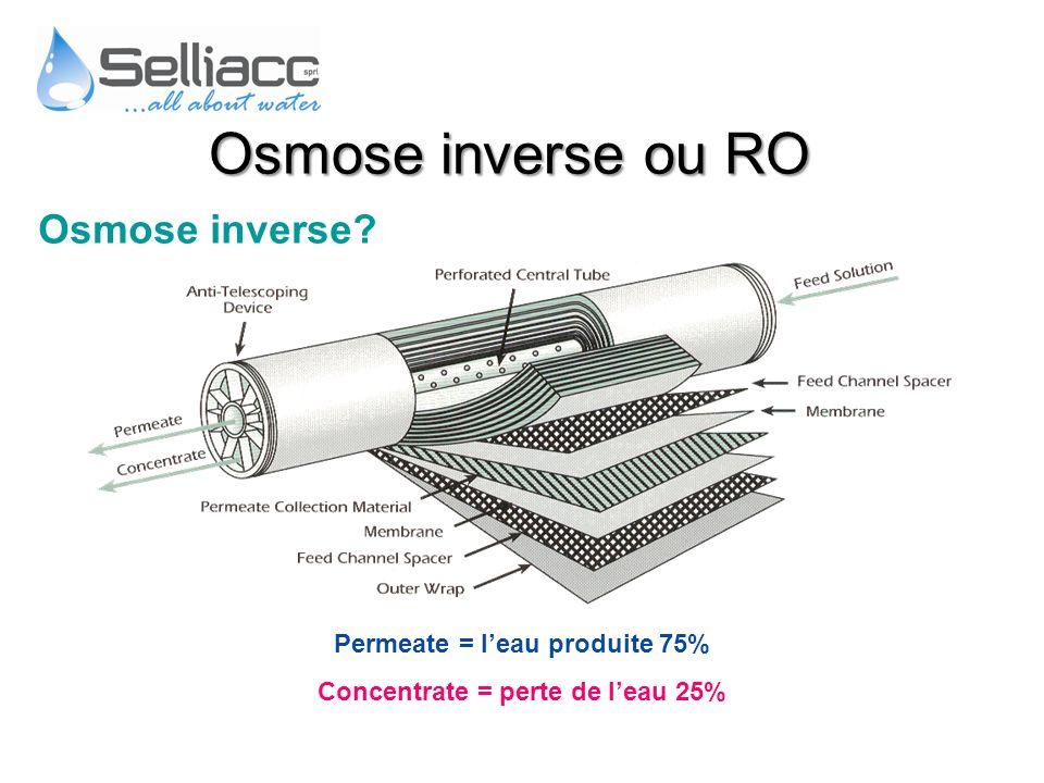Osmose inverse? Permeate = leau produite 75% Concentrate = perte de leau 25% Osmose inverse ou RO