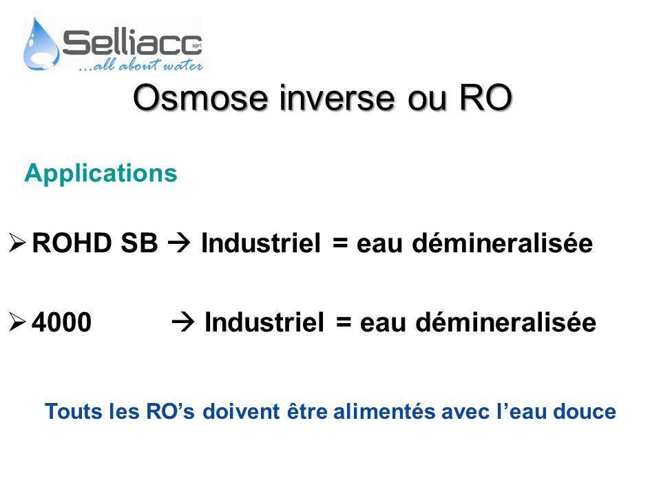 ROHD SB Industriel = eau démineralisée 4000 Industriel = eau démineralisée Applications Touts les ROs doivent être alimentés avec leau douce Osmose in