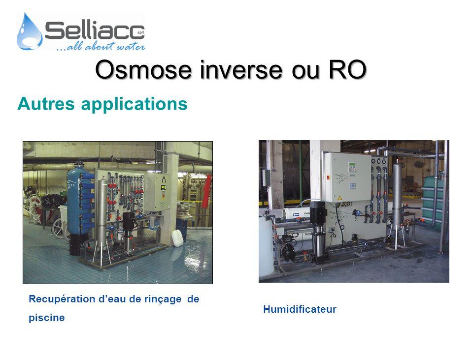Autres applications Humidificateur Recupération deau de rinçage de piscine Osmose inverse ou RO
