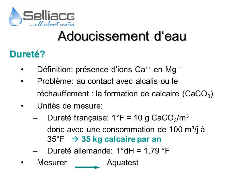 Définition: présence dions Ca ++ en Mg ++ Problème: au contact avec alcalis ou le réchauffement : la formation de calcaire (CaCO 3 ) Unités de mesure: