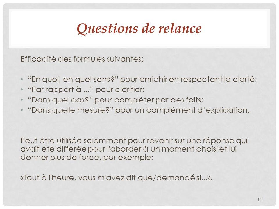 Questions de relance Efficacité des formules suivantes: En quoi, en quel sens? pour enrichir en respectant la clarté; Par rapport à... pour clarifier;