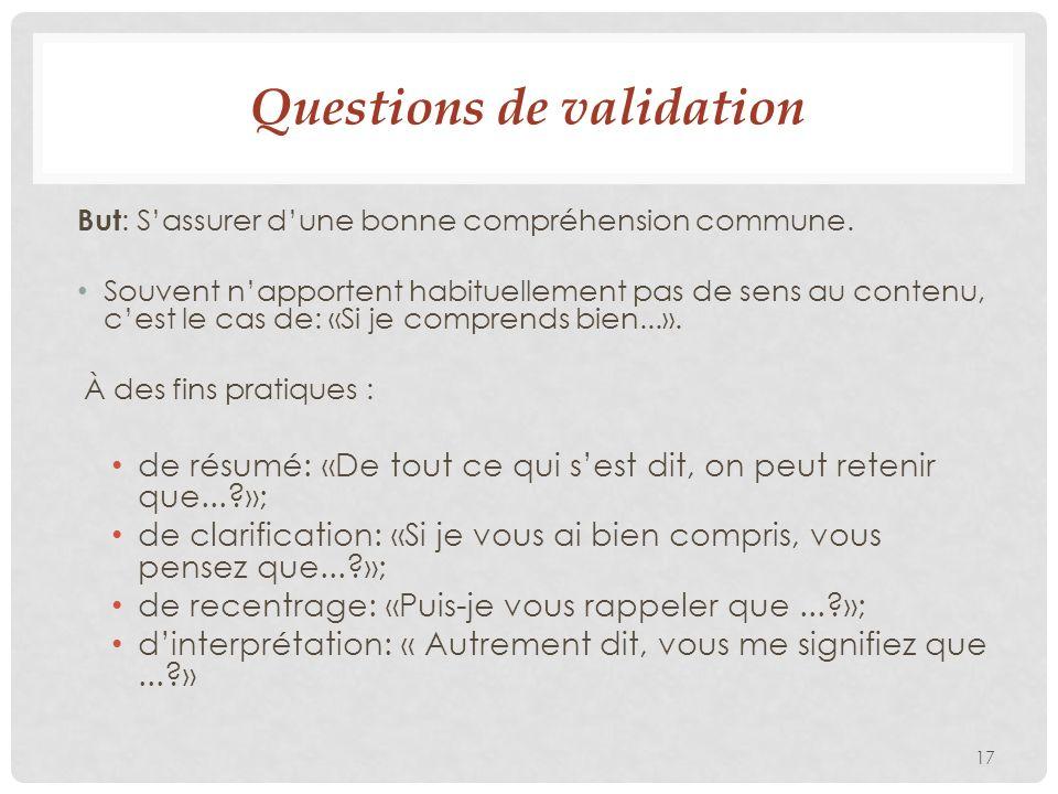 Questions de validation But : Sassurer dune bonne compréhension commune.