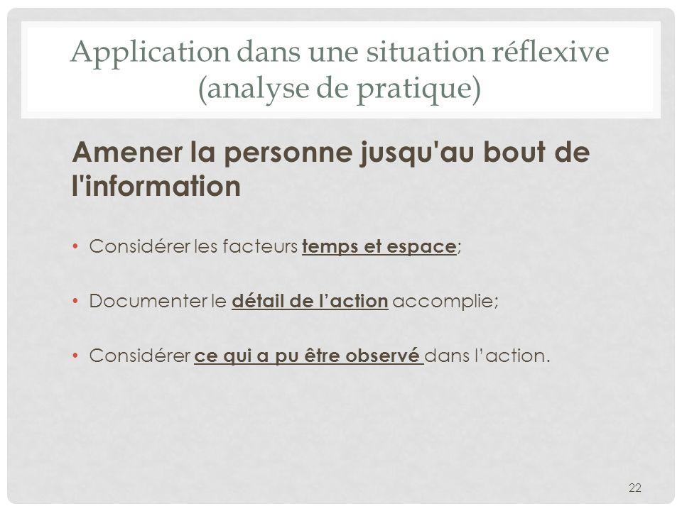 Application dans une situation réflexive (analyse de pratique) Amener la personne jusqu'au bout de l'information Considérer les facteurs temps et espa