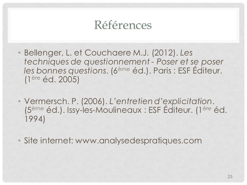 Références Bellenger, L. et Couchaere M.J. (2012). Les techniques de questionnement - Poser et se poser les bonnes questions. (6 ème éd.). Paris : ESF