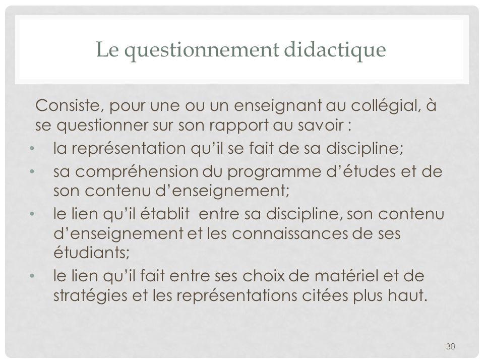 Le questionnement didactique Consiste, pour une ou un enseignant au collégial, à se questionner sur son rapport au savoir : la représentation quil se