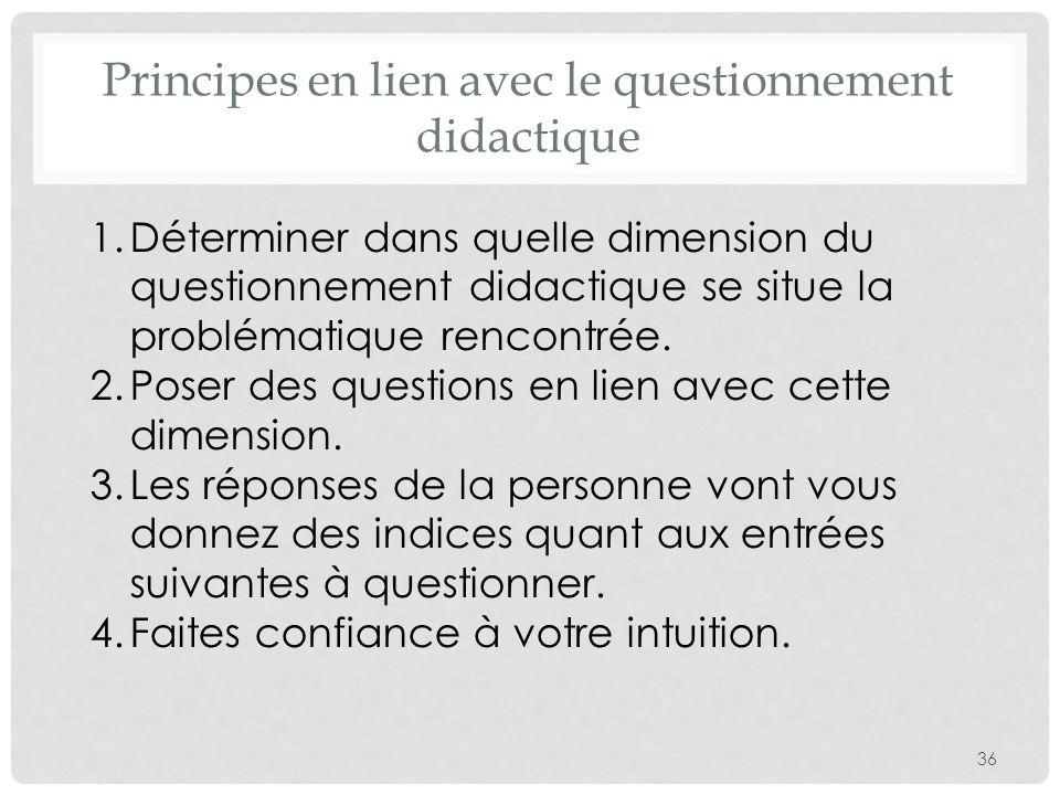 Principes en lien avec le questionnement didactique 1.Déterminer dans quelle dimension du questionnement didactique se situe la problématique rencontrée.