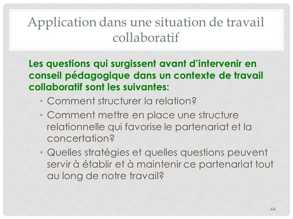 Application dans une situation de travail collaboratif Les questions qui surgissent avant dintervenir en conseil pédagogique dans un contexte de travail collaboratif sont les suivantes: Comment structurer la relation.