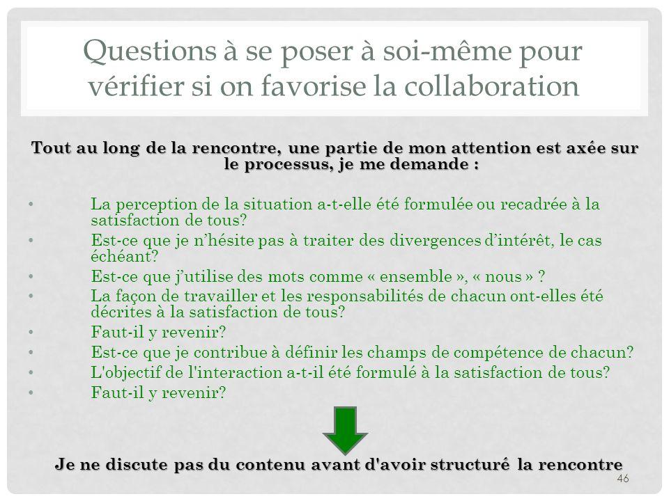 Questions à se poser à soi-même pour vérifier si on favorise la collaboration Tout au long de la rencontre, une partie de mon attention est axée sur l