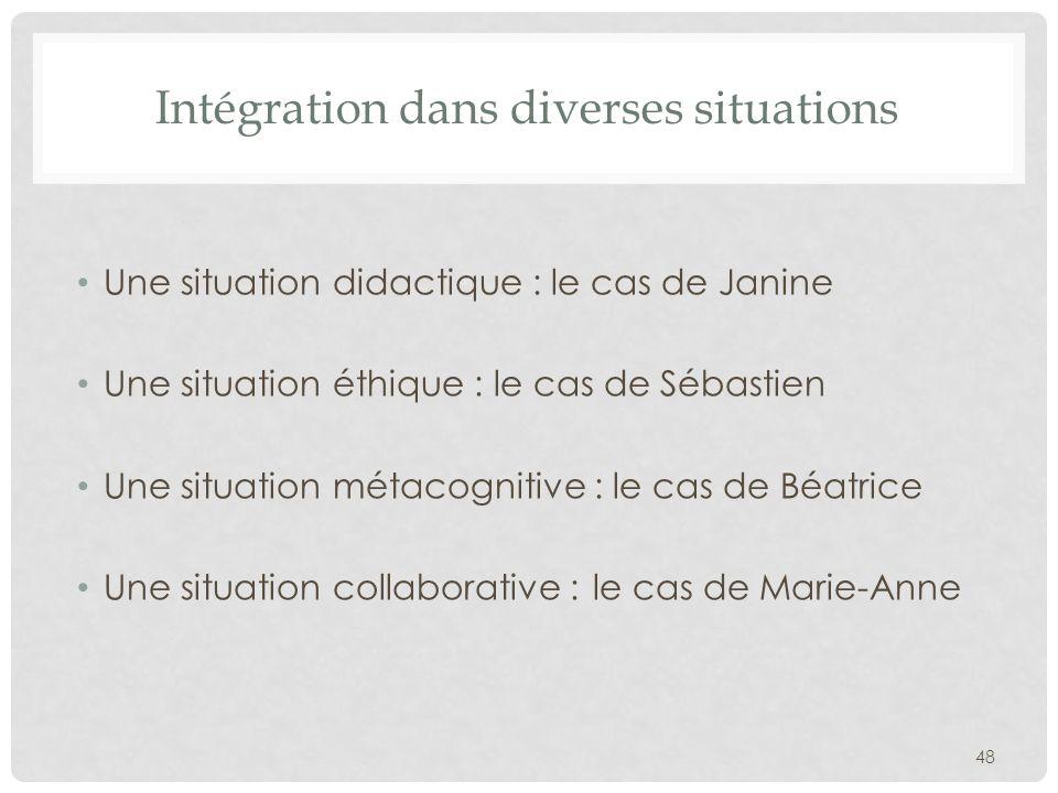 Intégration dans diverses situations Une situation didactique : le cas de Janine Une situation éthique : le cas de Sébastien Une situation métacogniti