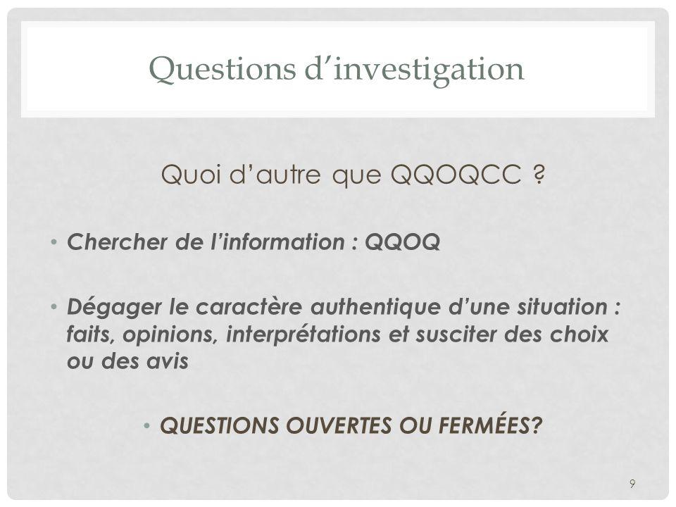 Questions dinvestigation Quoi dautre que QQOQCC ? Chercher de linformation : QQOQ Dégager le caractère authentique dune situation : faits, opinions, i