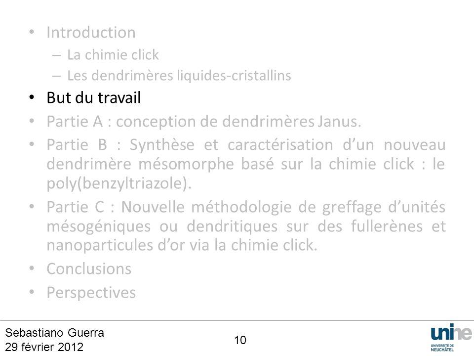10 Introduction – La chimie click – Les dendrimères liquides-cristallins But du travail Partie A : conception de dendrimères Janus. Partie B : Synthès