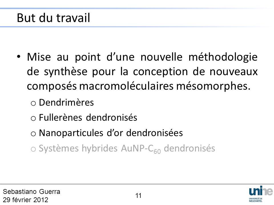But du travail Mise au point dune nouvelle méthodologie de synthèse pour la conception de nouveaux composés macromoléculaires mésomorphes. o Dendrimèr
