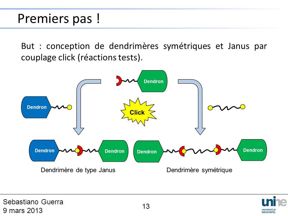 Premiers pas ! 13 But : conception de dendrimères symétriques et Janus par couplage click (réactions tests). Sebastiano Guerra 9 mars 2013