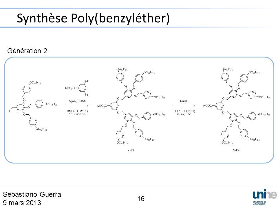 Synthèse Poly(benzyléther) 16 Sebastiano Guerra 9 mars 2013 Génération 2