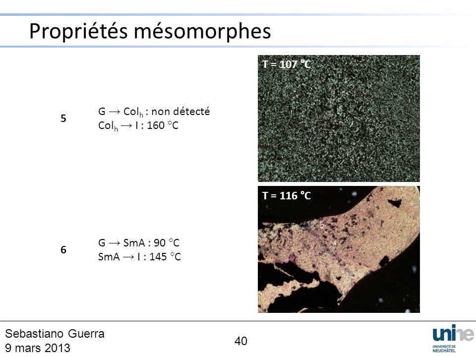 Propriétés mésomorphes 40 5 6 G Col h : non détecté Col h I : 160 °C G SmA : 90 °C SmA I : 145 °C T = 107 °C T = 116 °C Sebastiano Guerra 9 mars 2013