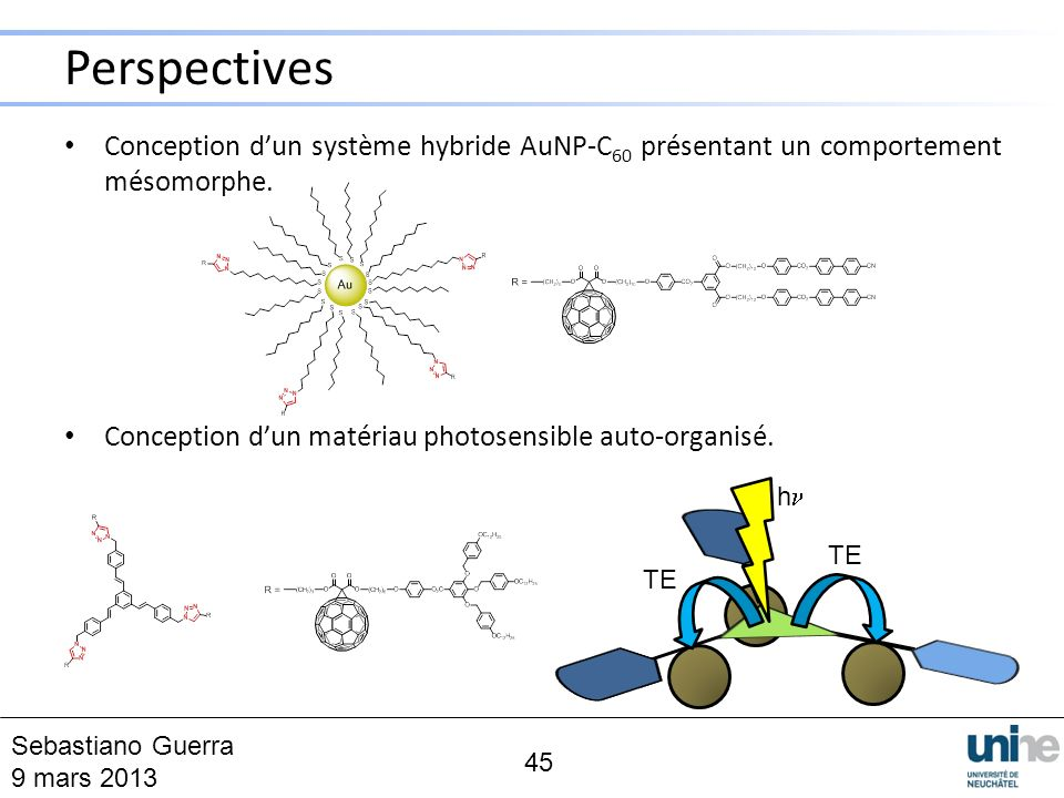 Conception dun système hybride AuNP-C 60 présentant un comportement mésomorphe. Conception dun matériau photosensible auto-organisé. 45 h TE Perspecti