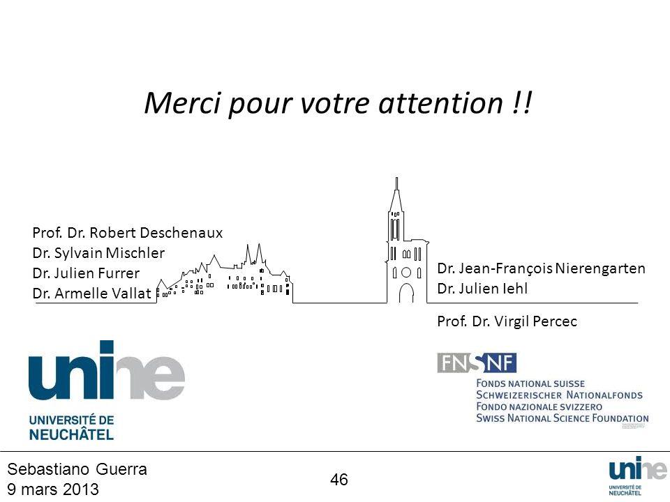 46 Sebastiano Guerra 9 mars 2013 Prof. Dr. Robert Deschenaux Dr. Sylvain Mischler Dr. Julien Furrer Dr. Armelle Vallat Dr. Jean-François Nierengarten