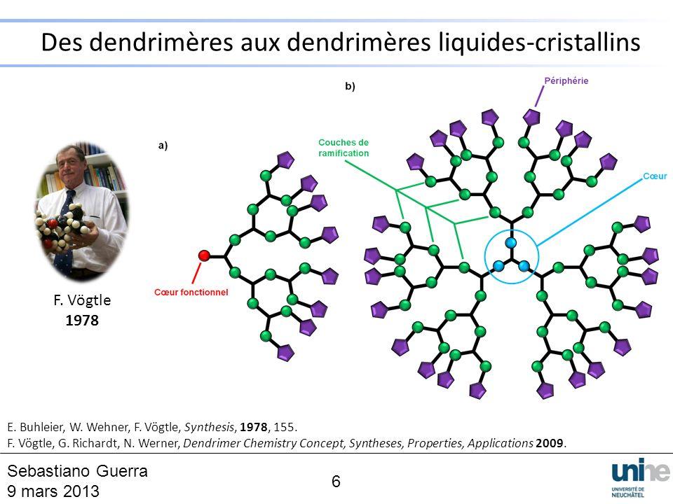 Des dendrimères aux dendrimères liquides-cristallins 6 F. Vögtle 1978 E. Buhleier, W. Wehner, F. Vögtle, Synthesis, 1978, 155. F. Vögtle, G. Richardt,