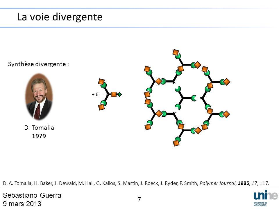 Synthèse divergente : D. Tomalia 1979 + 6+ 3 - 6 D. A. Tomalia, H. Baker, J. Dewald, M. Hall, G. Kallos, S. Martin, J. Roeck, J. Ryder, P. Smith, Poly
