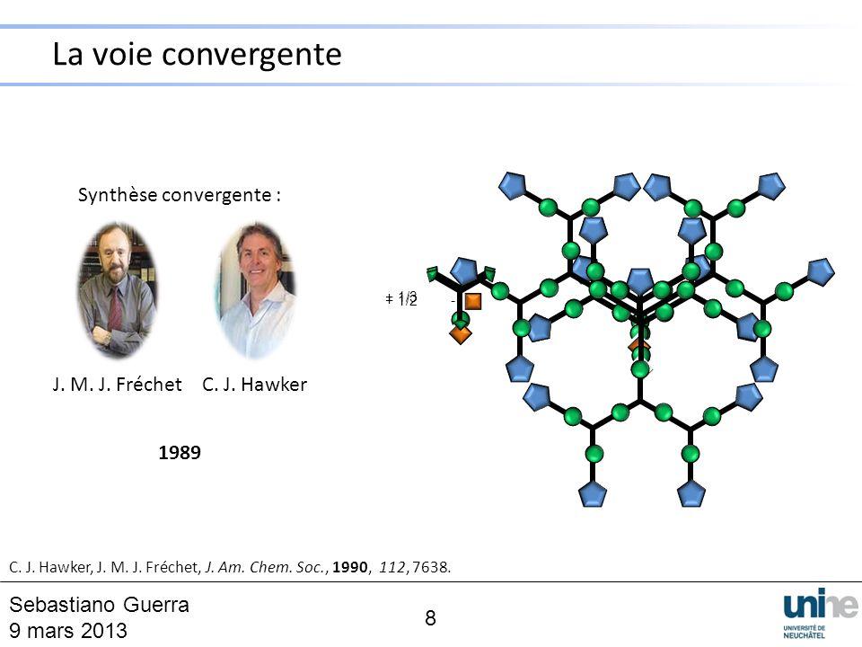 Synthèse convergente : J. M. J. FréchetC. J. Hawker 1989 C. J. Hawker, J. M. J. Fréchet, J. Am. Chem. Soc., 1990, 112, 7638. + 1/2 - 8 Sebastiano Guer