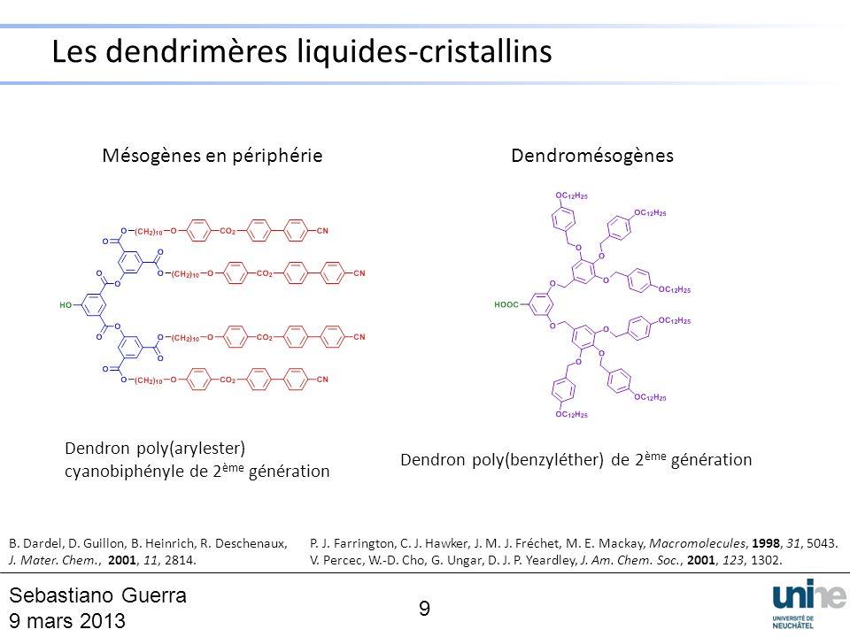Mésogènes en périphérie Dendron poly(arylester) cyanobiphényle de 2 ème génération Dendromésogènes Dendron poly(benzyléther) de 2 ème génération B. Da