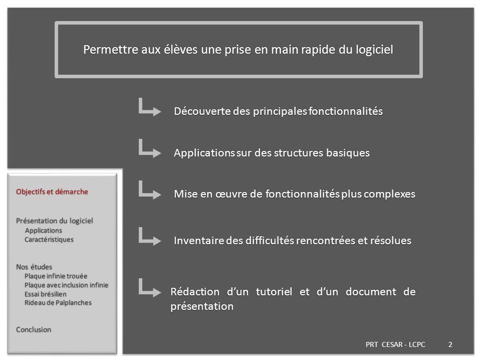 PRT CESAR - LCPC 2 Objectifs et démarche Présentation du logiciel Applications Applications Caractéristiques Caractéristiques Nos études Plaque infini