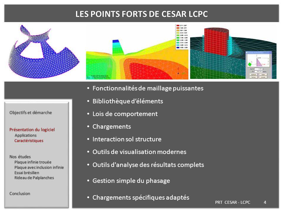 PRT CESAR - LCPC 4 Objectifs et démarche Présentation du logiciel Applications Applications Caractéristiques Caractéristiques Nos études Plaque infini