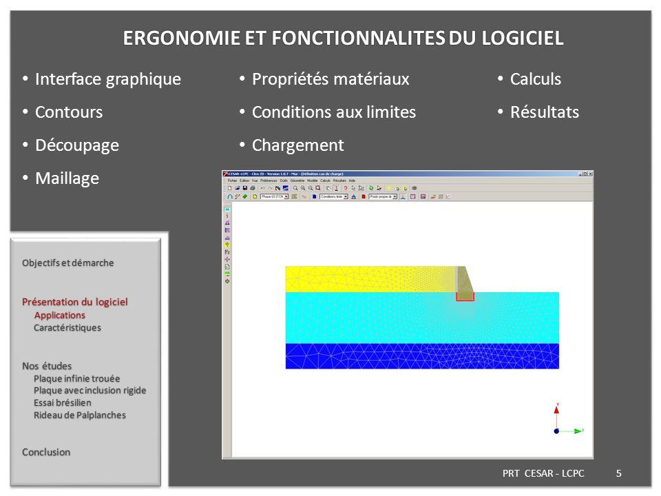 PRT CESAR - LCPC 5 Objectifs et démarche Présentation du logiciel Applications Applications Caractéristiques Caractéristiques Nos études Plaque infini