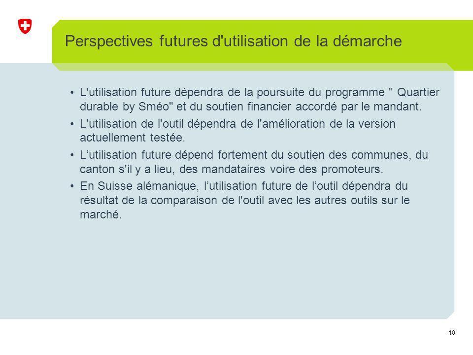 10 Perspectives futures d utilisation de la démarche L utilisation future dépendra de la poursuite du programme Quartier durable by Sméo et du soutien financier accordé par le mandant.