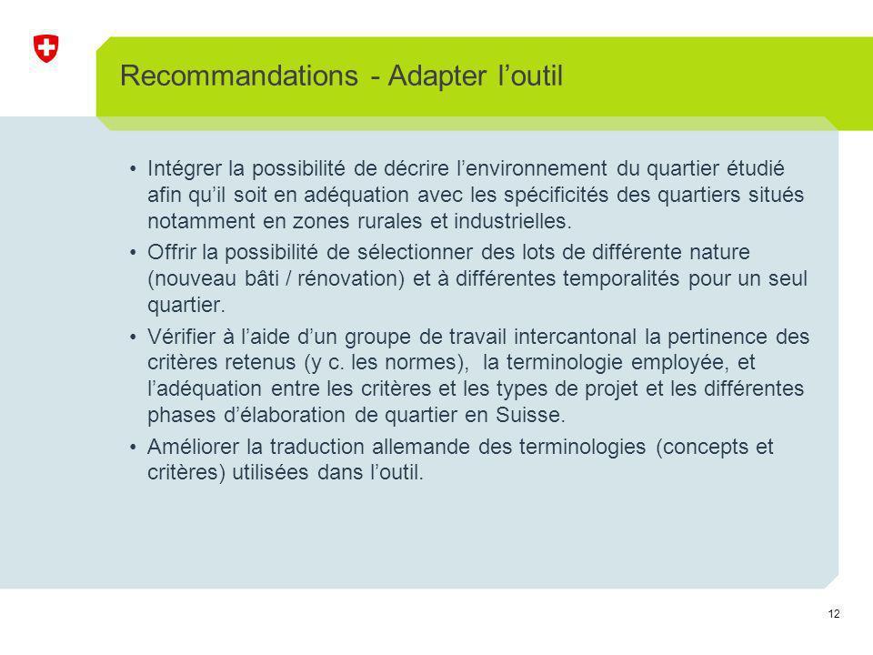 12 Recommandations - Adapter loutil Intégrer la possibilité de décrire lenvironnement du quartier étudié afin quil soit en adéquation avec les spécificités des quartiers situés notamment en zones rurales et industrielles.