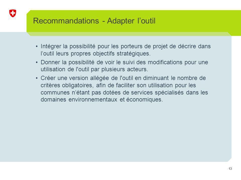 13 Recommandations - Adapter loutil Intégrer la possibilité pour les porteurs de projet de décrire dans loutil leurs propres objectifs stratégiques.