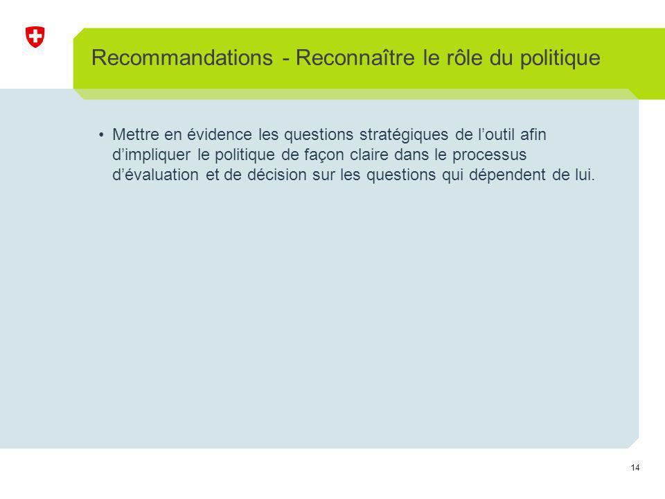 14 Recommandations - Reconnaître le rôle du politique Mettre en évidence les questions stratégiques de loutil afin dimpliquer le politique de façon claire dans le processus dévaluation et de décision sur les questions qui dépendent de lui.