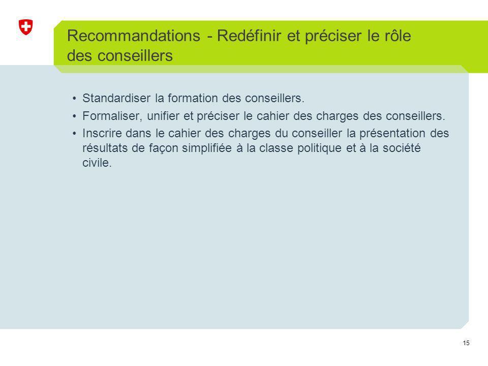 15 Recommandations - Redéfinir et préciser le rôle des conseillers Standardiser la formation des conseillers.