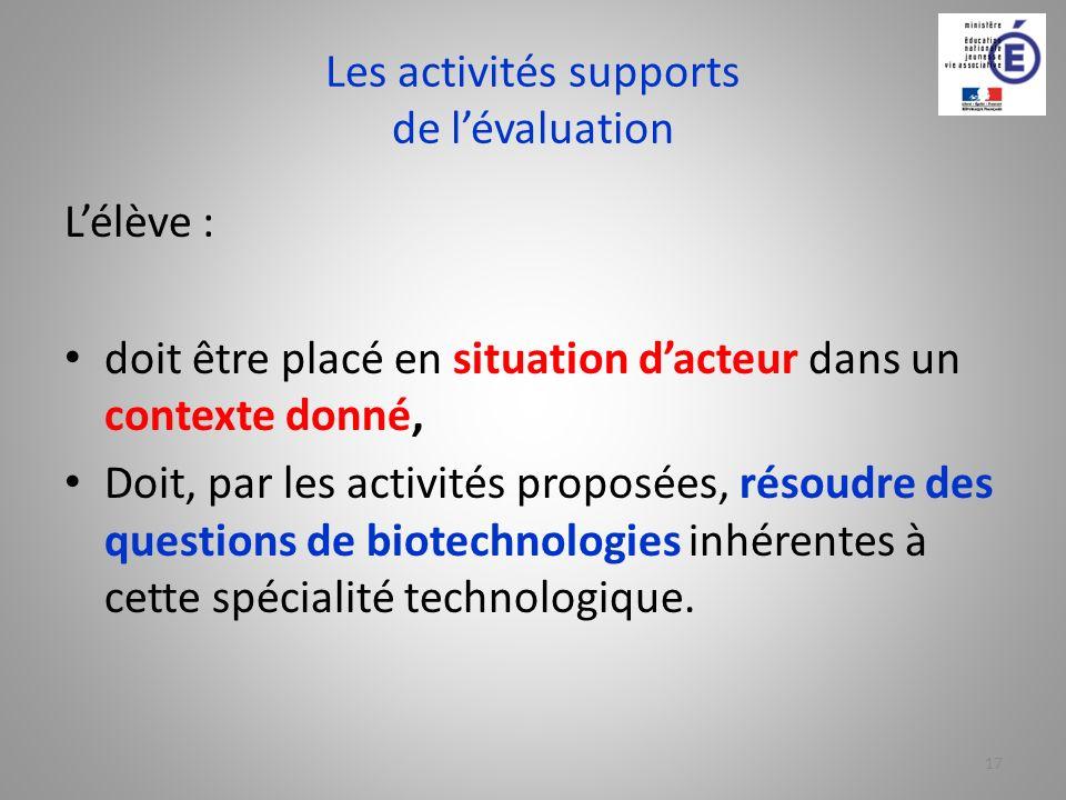 Les activités supports de lévaluation Lélève : doit être placé en situation dacteur dans un contexte donné, Doit, par les activités proposées, résoudr