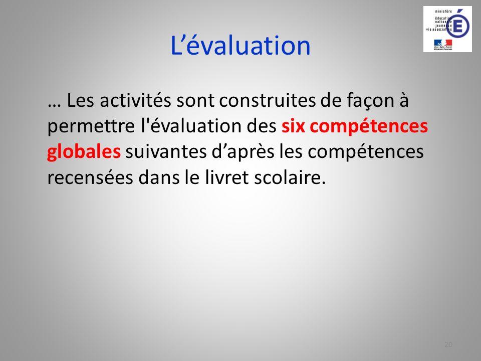 Lévaluation … Les activités sont construites de façon à permettre l'évaluation des six compétences globales suivantes daprès les compétences recensées