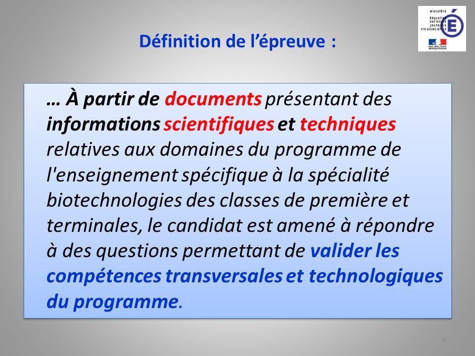 Définition de lépreuve : … À partir de documents présentant des informations scientifiques et techniques relatives aux domaines du programme de l'ense