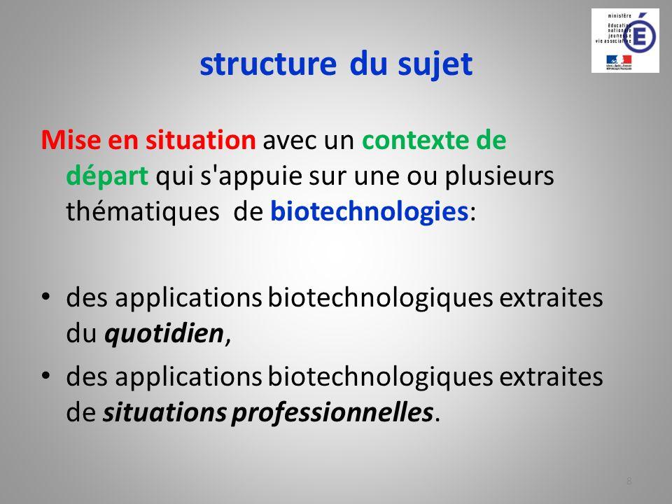 structure du sujet Mise en situation avec un contexte de départ qui s'appuie sur une ou plusieurs thématiques de biotechnologies: des applications bio