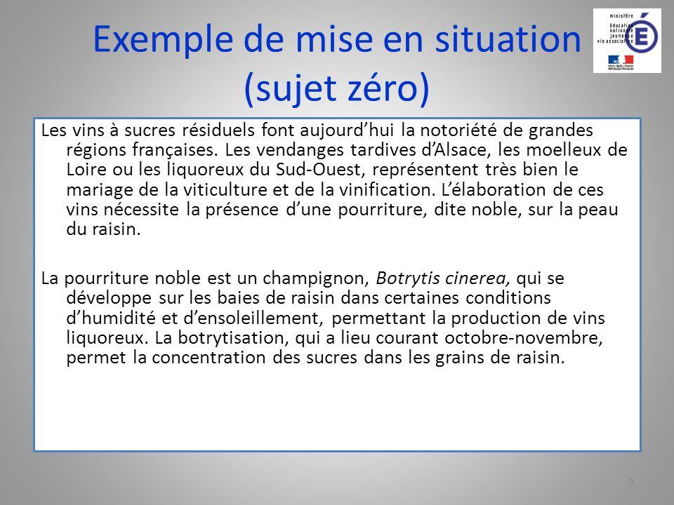 Exemple de mise en situation (sujet zéro) Les vins à sucres résiduels font aujourdhui la notoriété de grandes régions françaises. Les vendanges tardiv