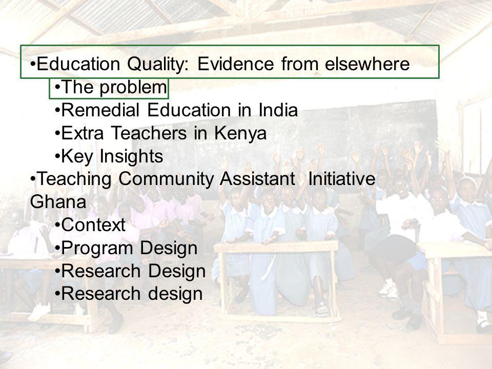 Extra teacher in Kenya Primary Education in Kenya Defis –Taille des classes –Absenteeisme des professeurs –Classes heterogenes –Peu de materiaux –Taux de completion bas Program Extra Professeur) –Recrutes et contrat renouvelles par les commites des ecoles –Dans certaines classes, classe divisee par niveau des connaissances