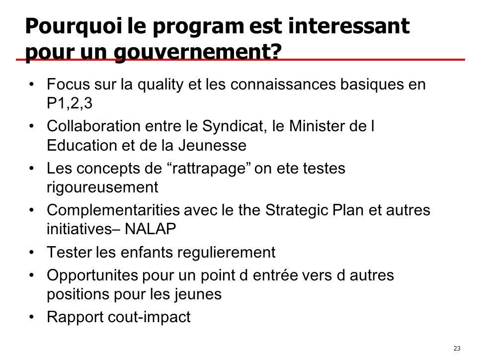Pourquoi le program est interessant pour un gouvernement.