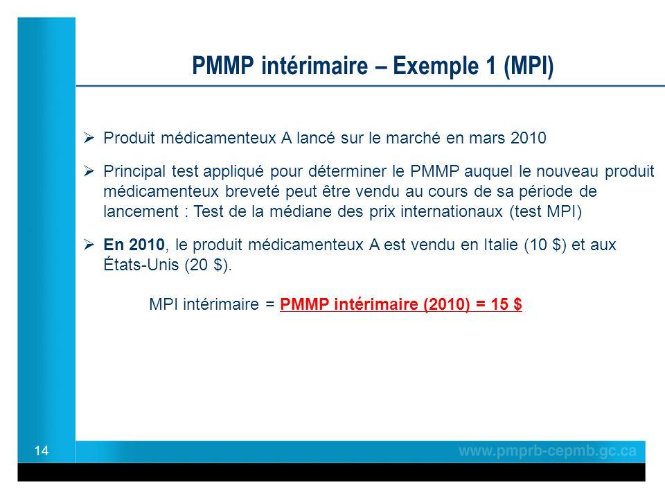 14 PMMP intérimaire – Exemple 1 (MPI) Produit médicamenteux A lancé sur le marché en mars 2010 Principal test appliqué pour déterminer le PMMP auquel le nouveau produit médicamenteux breveté peut être vendu au cours de sa période de lancement : Test de la médiane des prix internationaux (test MPI) En 2010, le produit médicamenteux A est vendu en Italie (10 $) et aux États-Unis (20 $).