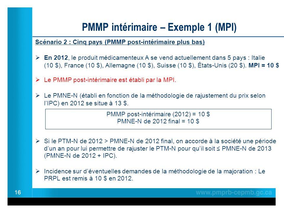 16 PMMP intérimaire – Exemple 1 (MPI) Scénario 2 : Cinq pays (PMMP post-intérimaire plus bas) En 2012, le produit médicamenteux A se vend actuellement dans 5 pays : Italie (10 $), France (10 $), Allemagne (10 $), Suisse (10 $), États-Unis (20 $).