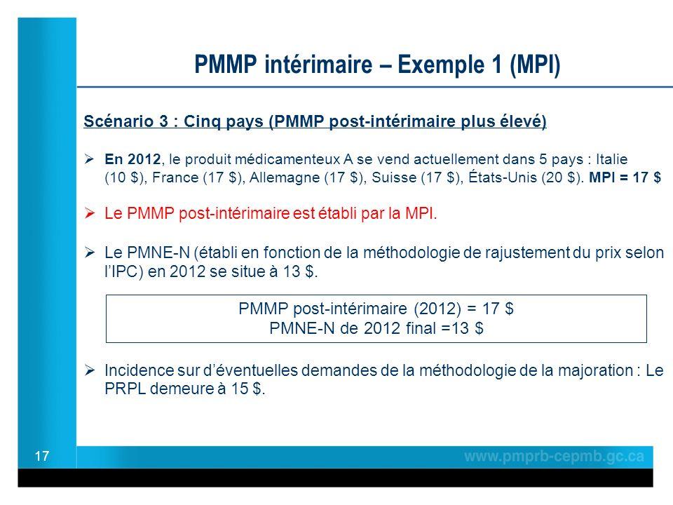 17 PMMP intérimaire – Exemple 1 (MPI) Scénario 3 : Cinq pays (PMMP post-intérimaire plus élevé) En 2012, le produit médicamenteux A se vend actuellement dans 5 pays : Italie (10 $), France (17 $), Allemagne (17 $), Suisse (17 $), États-Unis (20 $).