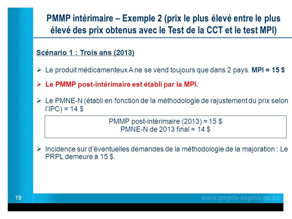 19 PMMP intérimaire – Exemple 2 (prix le plus élevé entre le plus élevé des prix obtenus avec le Test de la CCT et le test MPI) Scénario 1 : Trois ans (2013) Le produit médicamenteux A ne se vend toujours que dans 2 pays.