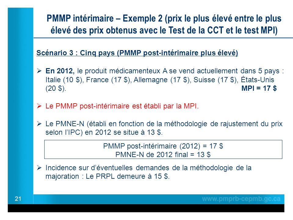 21 PMMP intérimaire – Exemple 2 (prix le plus élevé entre le plus élevé des prix obtenus avec le Test de la CCT et le test MPI) Scénario 3 : Cinq pays (PMMP post-intérimaire plus élevé) En 2012, le produit médicamenteux A se vend actuellement dans 5 pays : Italie (10 $), France (17 $), Allemagne (17 $), Suisse (17 $), États-Unis (20 $).