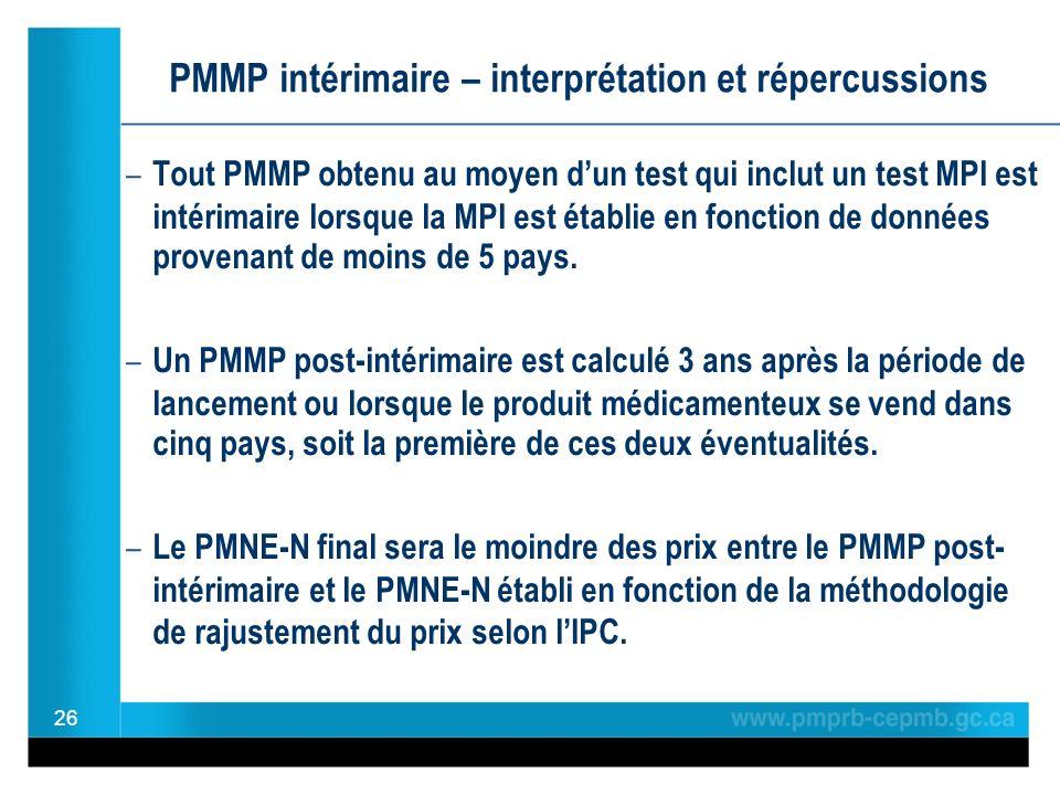 PMMP intérimaire – interprétation et répercussions – Tout PMMP obtenu au moyen dun test qui inclut un test MPI est intérimaire lorsque la MPI est établie en fonction de données provenant de moins de 5 pays.