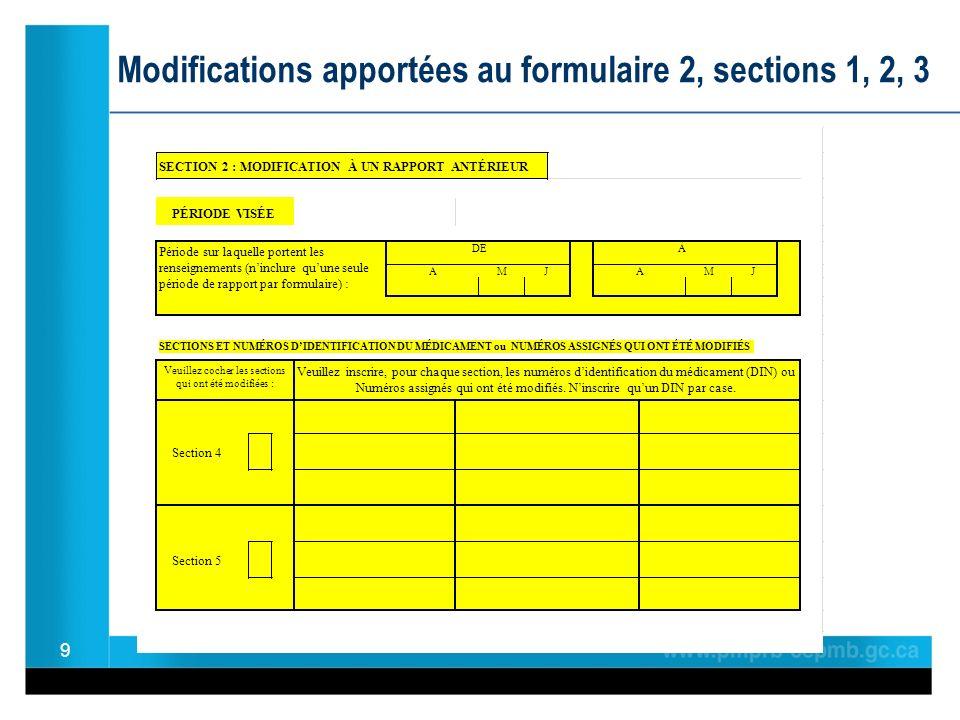 9 Modifications apportées au formulaire 2, sections 1, 2, 3 PÉRIODE VISÉE SECTIONS ET NUMÉROS DIDENTIFICATION DU MÉDICAMENT ou NUMÉROS ASSIGNÉS QUI ONT ÉTÉ MODIFIÉS ÀDE Section 5 Veuillez inscrire, pour chaque section, les numéros didentification du médicament (DIN) ou Numéros assignés qui ont été modifiés.