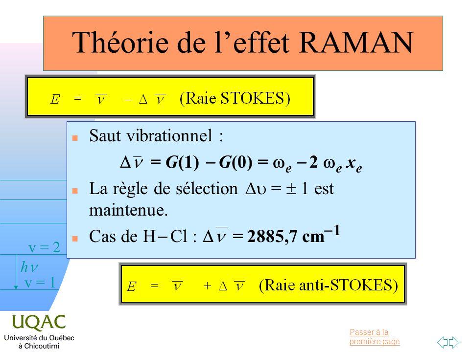 Passer à la première page v = 0 v = 1 v = 2 h Théorie de leffet RAMAN n Saut vibrationnel : = G(1) G(0) = e 2 e x e La règle de sélection = 1 est maintenue.