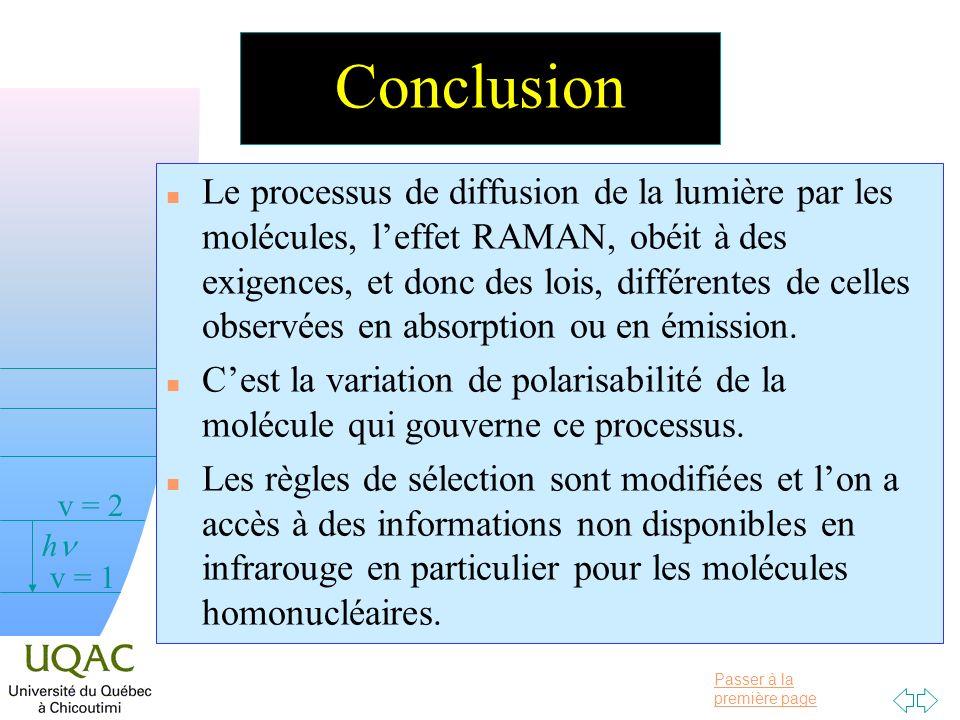Passer à la première page v = 0 v = 1 v = 2 h Conclusion n Le processus de diffusion de la lumière par les molécules, leffet RAMAN, obéit à des exigences, et donc des lois, différentes de celles observées en absorption ou en émission.